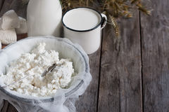 Dairy products and grains background Royalty Free Stock Photography