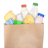 Dairy products. Grocery bag with dairy products isolated on white background Royalty Free Stock Images