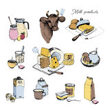 Dairy products hand drawn collection. Set milky farming assortment. Vector colorful illustration on white background. Stock Photography
