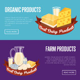 Dairy products horizontal banners set Stock Photos