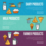 Dairy products horizontal website templates Stock Image