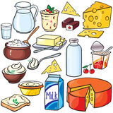 Dairy products icon set vector illustration