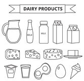 Dairy products icon set. Modern, line, outline style. Milk  isolated on white background.  and Cheese collection. Farm Stock Photos