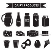Dairy products icon set silhouette style. Milk  isolated on white background.  and Cheese collection. Farm foods. Vector Stock Images
