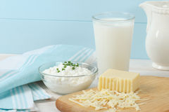 Free Dairy Products Include Milk And Cheese Stock Image - 24180341
