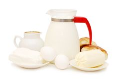 Dairy products isolated on white background Stock Photos