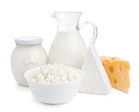 Dairy products isolated on white Royalty Free Stock Photos