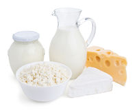 Dairy products isolated on white stock photo