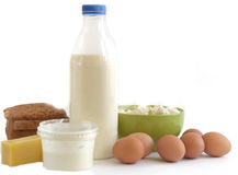 Dairy products isolated on white background Stock Image