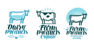 Dairy products, label set. Cow, farm animal, milk, beef icon or logo. Lettering vector illustration. Isolated on white background Royalty Free Stock Photo