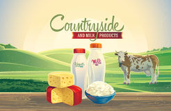 Dairy products and landscape with cow. Stock Image
