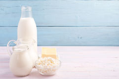 Dairy products at left side Royalty Free Stock Images