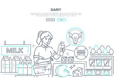 Dairy products - line design style web banner. On white background with copy space for text. Header with a girl choosing milk in the store, checking label royalty free illustration