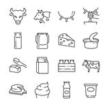 Dairy products line icons set Stock Images