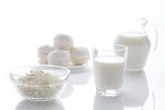 Dairy products and marshmallows Stock Images