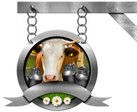 Dairy Products - Metal Sign with Chain Stock Photography
