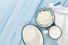 Dairy products. Milk, cheese and curd cheese Royalty Free Stock Image