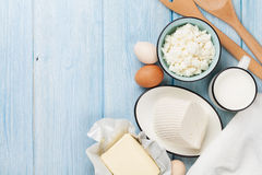 Dairy products. Milk, cheese, egg, curd cheese and butter Royalty Free Stock Photos