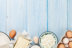 Dairy products. Milk, cheese, egg, curd cheese and butter Royalty Free Stock Images