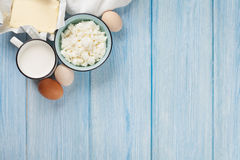 Dairy products. Milk, cheese, egg, curd cheese and butter Stock Image