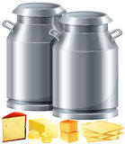 Dairy products with milk and cheese Stock Photography