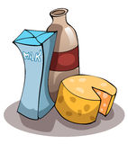 Dairy Products, Milk, Cheese and Yogurt. Dairy Products, Milk, Cheese and Yogurt, Vector Illustration  on White Background Stock Images