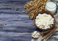 Dairy products milk and cottage cheese for jewish holiday Shavuo Royalty Free Stock Photos