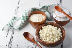 Dairy products milk cottage cheese, sour cream stock images
