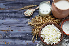 Dairy products: milk, cottage cheese, sour cream. Dairy products milk, cottage cheese, sour cream for jewish holiday Shavuot. Selective focus. Copy space Royalty Free Stock Image