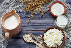 Dairy products: milk, cottage cheese, sour cream. Selective focus. Copy space background Stock Photo