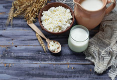 Dairy products: milk, cottage cheese, sour cream. Selective focus. Copy space background Royalty Free Stock Photos