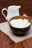 Dairy products: milk, cottage cheese Royalty Free Stock Images