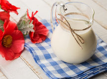 Dairy products - milk in pitcher. Stock Photos