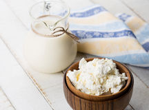 Dairy products - milk, scottage cheese. Royalty Free Stock Photography