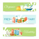 Dairy products or milk set vector illustration. Fresh, quality, organic food set of banners. Great taste and nutritional stock illustration