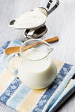 Dairy products - milk, sour cream. Royalty Free Stock Photo