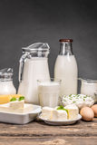 Dairy products. On old wooden table Royalty Free Stock Photo