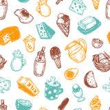 Dairy Products, Pattern. Royalty Free Stock Photos
