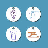 Dairy products sale badges set Royalty Free Stock Photos