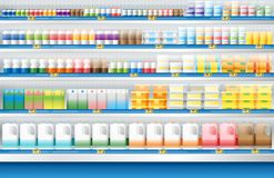Dairy products for sale display on shelf in supermarket. Vector , illustration royalty free illustration