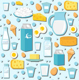Dairy products seamless pattern with milk, cheese. Dairies background, texture, paper. Vector illustration. Stock Photos
