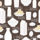 Dairy products, seamless vector background Stock Photos