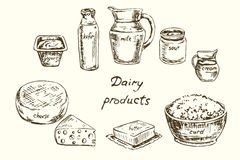 Dairy products set. Hand drawn vector illustration, Dairy products set Stock Photography