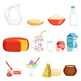 Dairy products set, milk, butter, cheese, yogurt, sour cream, ice cream vector Illustrations Stock Photo