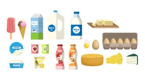 Dairy products set. Milk and eggs, cheese and yogurt Stock Images