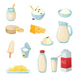 Dairy Products Set. With milk in various packaging cheese yogurt butter curd sour cream isolated vector illustration Stock Image
