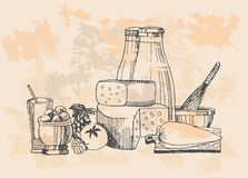Dairy products set Royalty Free Stock Photos