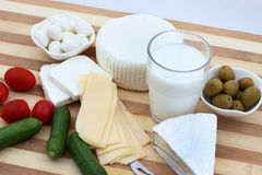 Dairy products for Shavuot traditional meal. Dairy products is a traditional meal on the Jewish Shavuot holiday. Series of images for Shavuot royalty free stock photography