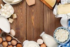 Dairy products. Sour cream, milk, cheese, egg, yogurt and butter Stock Photos
