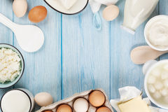 Dairy products. Sour cream, milk, cheese, egg, yogurt and butter Stock Image